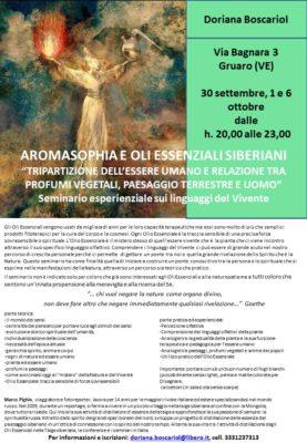seminario serale, AROMASOPHIA E OLI ESSENZIALI SIBERIANI, GRUARO (VE)