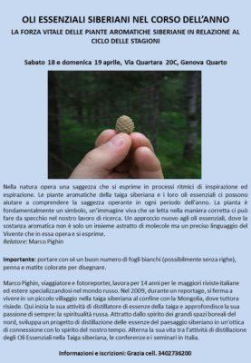 OLI ESSENZIALI SIBERIANI NEL CORSO DELL'ANNO, Genova Quarto