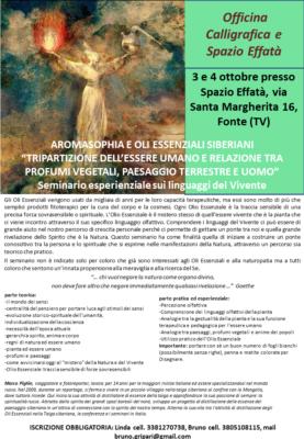 AROMASOPHIA E OLI ESSENZIALI SIBERIANI, Officina Calligrafica e Spazio Effatà, Fonte (TV) @ Spazio Effatà